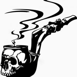 骷髅烟斗纹身手稿图片