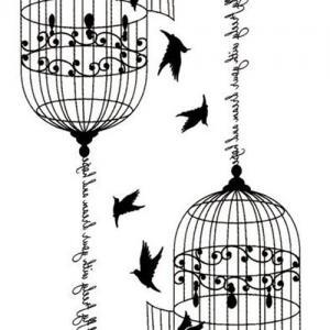自由英文鸟笼飞翔鸽子纹身手稿图片