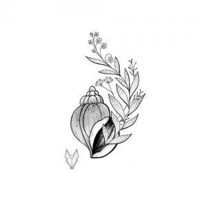 黑灰海螺树叶纹身手稿图片