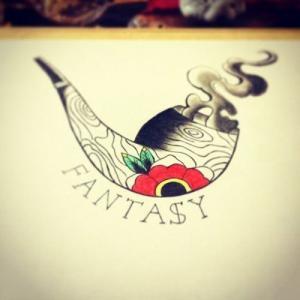彩色个性烟斗纹身手稿图片