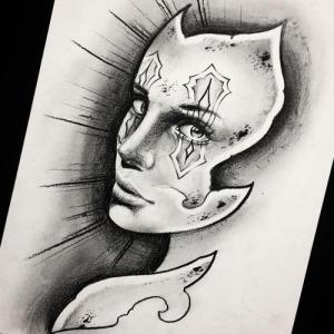 猫女纹身手稿图片