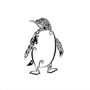 欧美黑白线条花纹企鹅纹身手稿图片