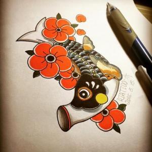 花朵鲤鱼旗纹身手稿图片