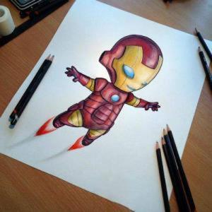 彩色可爱钢铁侠纹身手稿图片