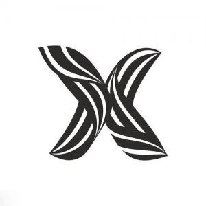 扭曲线条X字母纹身手稿图片