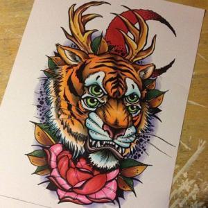 彩色 school 风格虎头纹身手稿图片