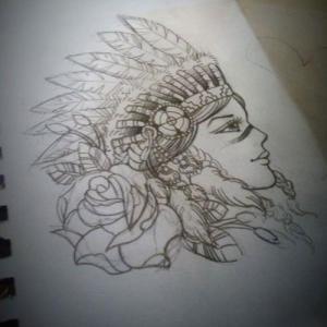 印第安人美女纹身手稿图片