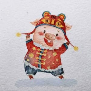 水彩可爱猪八戒纹身手稿图片