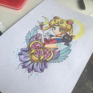 彩色美少女纹身手稿图片