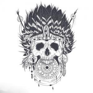 骷髅印第安人纹身手稿图片