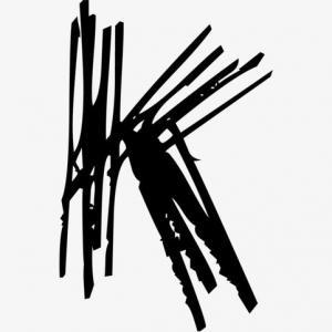 黑色水墨线条k字母纹身手稿图片