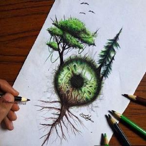 创意森林眼球纹身手稿图片