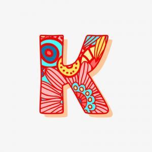 花纹k字母纹身手稿图片