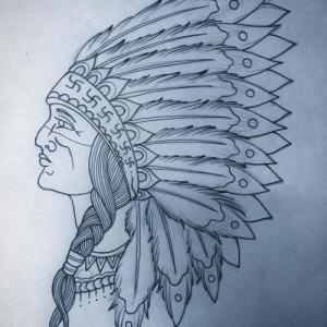 素描印第安人纹身手稿图片