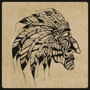 黑白印第安人纹身手稿图片