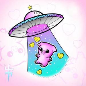 色彩卡通小猪飞碟纹身手稿图片