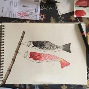 手绘水彩鲤鱼旗纹身手稿图片