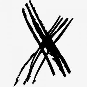 水墨线条X字母纹身手稿图片