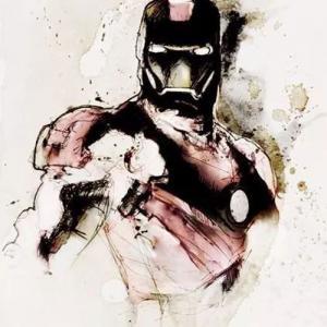 水彩晕染钢铁侠纹身手稿图片