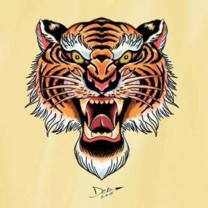 色彩凶狠虎头纹身手稿图片