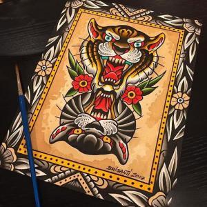 old school虎头纹身手稿图片