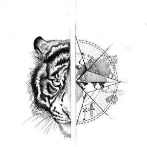 创意虎头纹身手稿图片