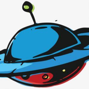 蓝色水彩飞碟纹身手稿图片