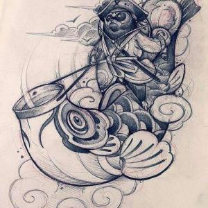 新传统鲤鱼旗纹身手稿图片
