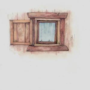 水彩木头窗户纹身手稿图片