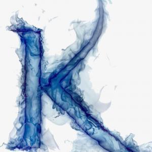 水墨丹青k字母纹身手稿图片