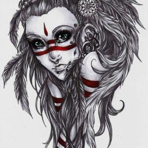 newschool风格印第安人纹身手稿图片