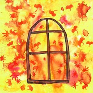 水彩树叶窗户纹身手稿图片