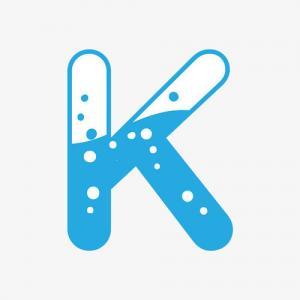 卡通手绘蓝色k字母纹身手稿图片