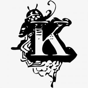 水墨黑白色k字母纹身手稿图片