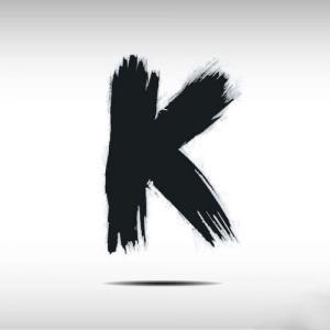 黑色水彩k字母纹身手稿图片