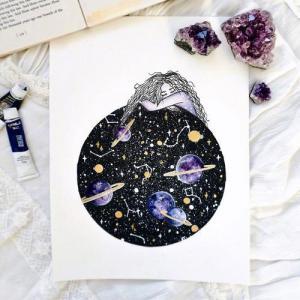 水彩星空星球纹身手稿图片