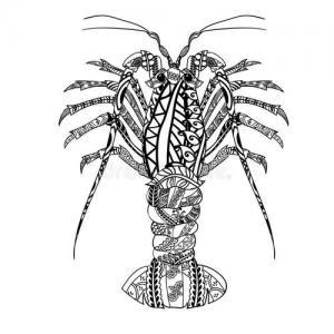 黑白花纹龙虾纹身手稿图片