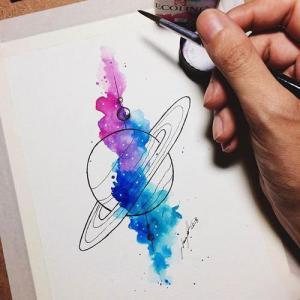 水彩星球纹身手稿图片