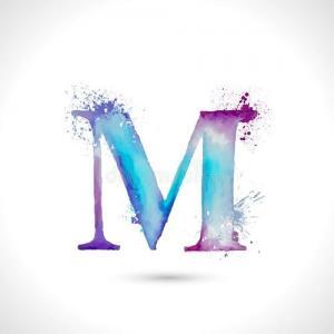 彩色晕染M字母纹身手稿图片