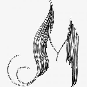 手绘卡通M字母纹身手稿图片