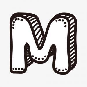 卡通立体M字母纹身手稿图片