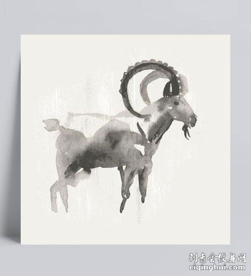 水彩.山羊纹身手稿图片