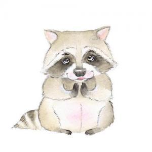 水彩可爱浣熊纹身手稿图片