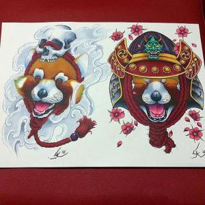新传统浣熊纹身手稿图片