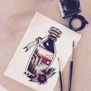 彩绘水彩创意瓶子纹身手稿图片