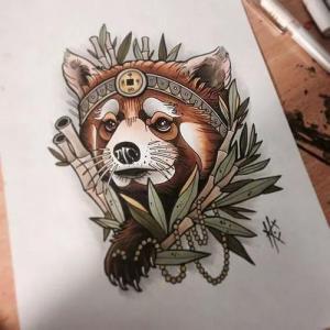 彩色school浣熊纹身手稿图片