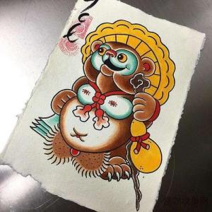 彩色日式浣熊纹身手稿图片