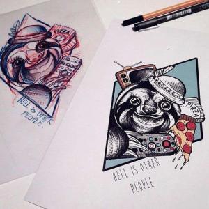 几何点线树懒纹身手稿图片