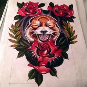 欧美school玫瑰浣熊纹身手稿图片