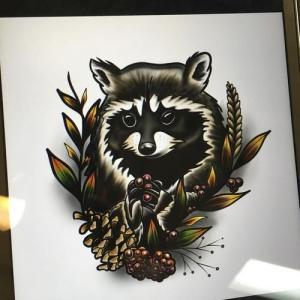 浣熊纹身手稿图片